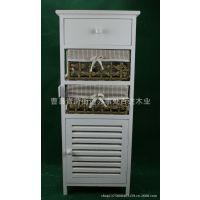 厂家直供复古原色柳编木制床头柜 白色实木收纳柜定做 批发家具