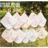 母婴用品 西松屋纱布口水巾手帕婴儿纯棉4层双面印花纱布 高密度