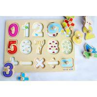 定制厂家 木制儿童拼图拼板 字母数字拼图 手抓板 早教玩具