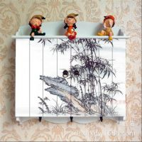 热销仿古中式山水画实木电表箱 定制家居实木装饰画壁饰电表箱