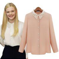 15春季新款 欧洲站纯色娃娃领蕾丝钉珠雪纺衫上衣衬衣打底衫A