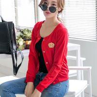 供应2014秋季新品韩版短款休闲外套女 圆领开衫修身薄款卫衣外套批发