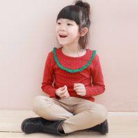 2014秋装新款韩版 女童打底衫长袖 花边儿童T恤碎花潮