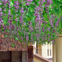 紫藤豆花塑料花装饰花藤壁挂藤条假花藤蔓室内紫藤花 仿真花绢花