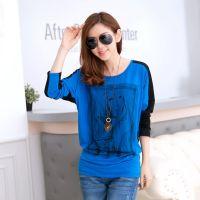 2014秋装新款韩版女装显瘦长袖T恤宽松大码女士打底衫厂家直销