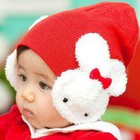 秋冬帽子批发 韩版婴儿儿童小兔子护耳帽 宝宝卡通大兔蝴蝶结童帽
