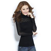 2014秋冬新款女装黑色修身小衫网纱t恤高领长袖打底衫女