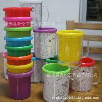 水杯/笔杯/双层画杯/马克杯/DIY/可放照片/儿童杯/塑料杯子