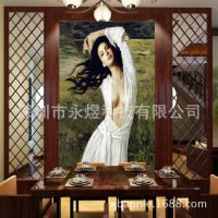 玄关壁画定制《个性墙纸定制/数码高清大型壁画》油画美女人物