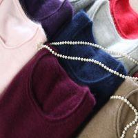 新款貂绒衫女圆领貂绒毛衣短款羊绒针织衫修身打底衫貂毛毛衣