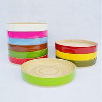 巨匠厂家定制西式环保出口精品全手工彩色小竹盘沙拉果盘