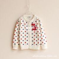 外贸童装 彩色圆点 欧美女童蝴蝶结纯棉线 童针织衫 儿童毛衣开衫