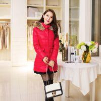 2014冬装新 韩版修身气质长款棉衣外套 众宇琦121007兔子真毛领