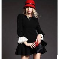秋冬女装新款拼接蕾丝喇叭袖蝴蝶结荷叶边摆修身连衣裙