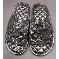 男女家居冬季四季拖鞋牛筋防滑金银色PU皮革带钻皮拖鞋手工缝制