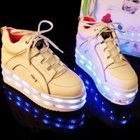 全球首款推行生产真皮发光女式高帮鞋蓝牙控制LED闪灯女款球鞋