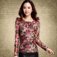 实拍2014新款韩版秋装修身打底衫 热销印花时尚花朵大码长袖t恤女