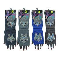 羊毛手套批发 冬季保暖电脑半指指手套 绣花羊毛手套 广州手套