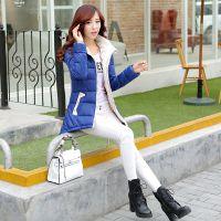 2014冬装新款韩版女士羽绒服修身收腰显瘦中长款S型斗篷羽绒棉服