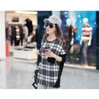 特价批发韩版时尚大码胖MM女装潮流欧美风格细条格宽松上衣t恤