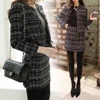 2014早秋新款套装小香风格子呢子外套修身毛呢连衣裙两件套秋冬装