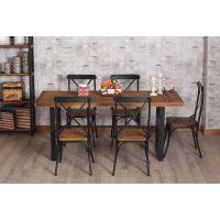 鑫鑫隆美式实木家具餐厅做旧桌椅法式北欧铁艺复古餐桌餐椅组合