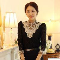 蕾丝衫女长袖新款女装韩版高领打底衫上衣秋冬女装雪纺衫
