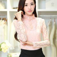 秋装新款韩版时尚修身纯色蕾丝镂空拼接立领长袖打底衫