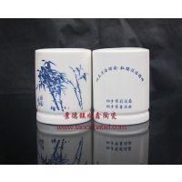 文化宣传礼品陶瓷笔筒  广告礼品笔筒订做厂家  景德镇陶瓷笔筒