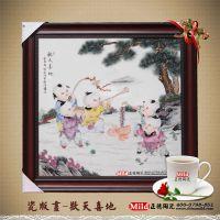 厂家生产陶瓷礼品瓷板画 定做高档手绘瓷板画