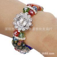 2014新款热销单品七彩水晶球表带双排圆形手表手链 女士表35017#