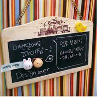 韩国可爱创意文具 原木挂墙钩链磁性双面小黑板留言板56455