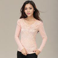 2014秋季新款长袖蕾丝衫韩版修身百搭蕾丝打底衫大码女装