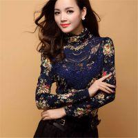 2014新装女士欧韩版蕾丝高领修身长袖打底衫加绒加厚