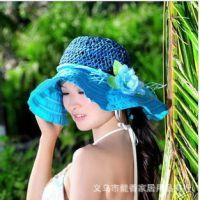 夏天遮阳帽草帽 海边旅游大花朵大沿帽沙滩帽 宽边大檐草编帽子