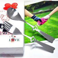 满包邮 镂空心形不锈钢情侣叉勺两件套 不锈钢勺叉套装 彩盒包装
