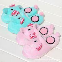 批发可爱薄荷绿粉色毛绒大象家居防滑地板拖居家室内拖鞋毛绒拖鞋