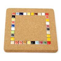 加厚马塞克锅垫 隔热碗垫 餐垫 软木+彩色釉面陶瓷 加厚型