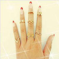 R182 速卖通欧美饰品厂家批发潮女关节蝴蝶V字镶钻尾戒指圈指环