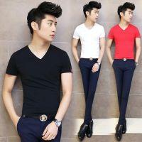 供应男装短袖t恤2014夏季新款男式T恤男韩版潮流纯色莫代尔V领打底衫