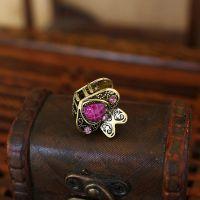 女生发饰品 迷你小发抓 合金镶嵌紫色心形宝石发夹