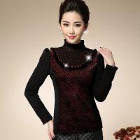 2014秋冬新款韩版网纱镶钻加绒加厚蕾丝打底衫大码女装长袖T恤