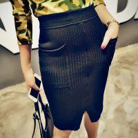 半身裙 新款 高腰性感包臀大摆裙 收腰毛线针织半身长裙鱼尾裙