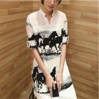 2014新款春装中长款雪纺衫 韩版修身显瘦 大码短袖打底衫