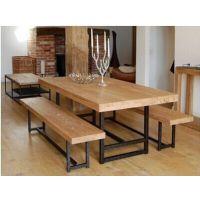 批发复古做旧铁艺实木咖啡餐桌椅简约桌办公电脑桌子会议桌椅
