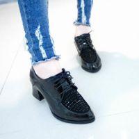 英伦风时尚女皮鞋 经典镶钻透气高跟鞋耐磨镶钻漆皮系带女单鞋