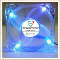 供应8025(四蓝灯)透明led风扇,超静音机箱风扇 含油12V 彩灯风扇8CM