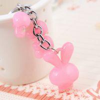 糖果色可爱果冻钥匙扣--兔子款 儿童节生日礼物礼品 颜色随机