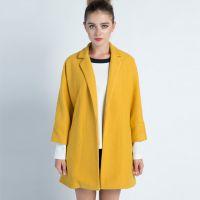2014新款欧美高端女装大码女装宽松蝙蝠七分袖毛呢外套加工厂