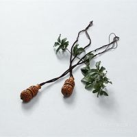 波西米亚民族女棉麻衣服挂件配饰长项链毛衣链桃木质